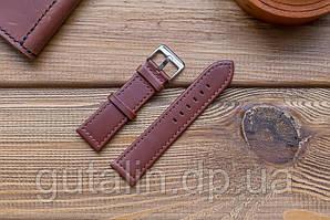 Шкіряний ремінець для годинника art.1 колір коричневий. Розмір 22