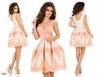 Платье вечернее короткое габардин+кружево+фатин 42,44,46