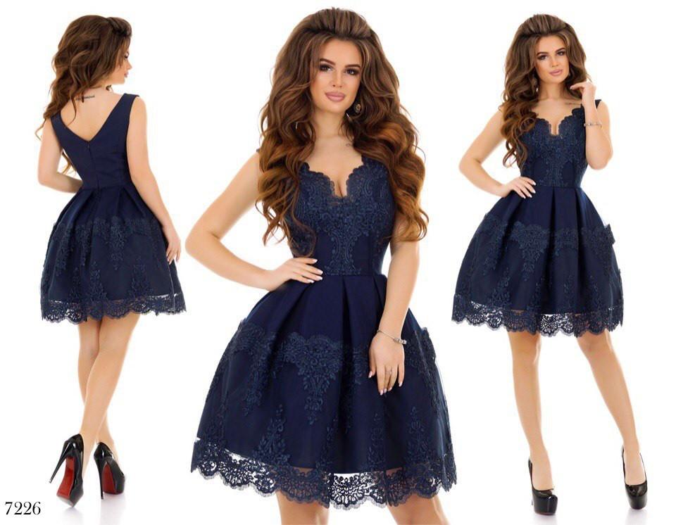 1e640b57f3b ... Платье вечернее короткое габардин+кружево+фатин 42