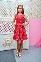 Платье детское подростковое Ромашка красное для девочки 128,134,140см подвеска-капелька пояс-бант