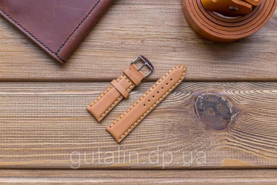 Кожаный ремешок для часов art.1 цвет лиса. Размер 22