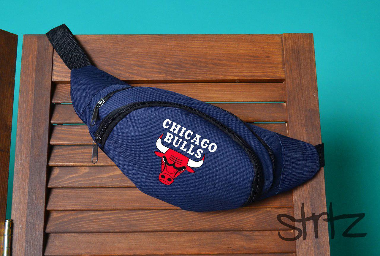 Сумка на пояс для активных не большая чикаго булс Chicago Bulls синяя