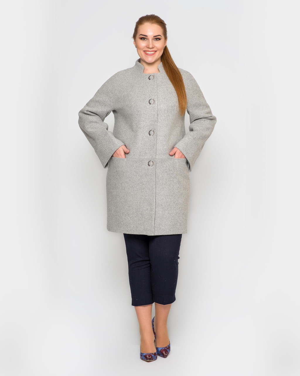 Женское полупальто с рукавом реглан больших размеров