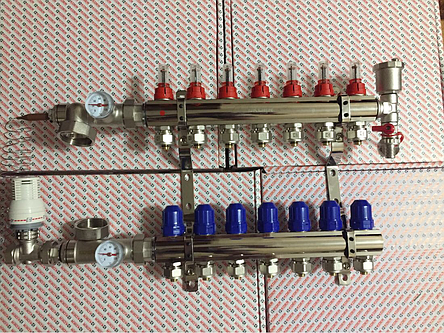 Коллектор Koer на 7 выхода в полном сборе без насоса со смесительной группой и расходомерами, фото 2