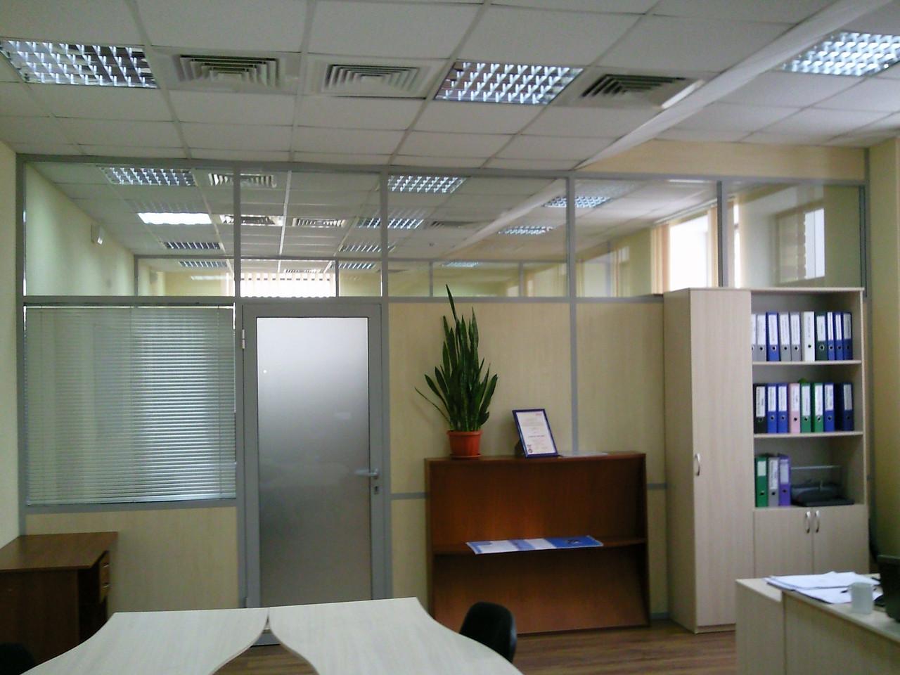 Комбинированные офисные перегородки, изготовление и монтаж