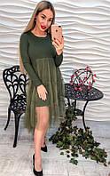 """Снова в наличии! Оригинальное, женское трикотажое платье с длинными рукавами """"Юбка из органзы"""" РАЗНЫЕ ЦВЕТА"""