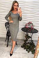 """Любимая модель снова в наличии! Женское, силуютное, вязаное платье-миди """"С пуговками""""  РАЗНЫЕ ЦВЕТА"""