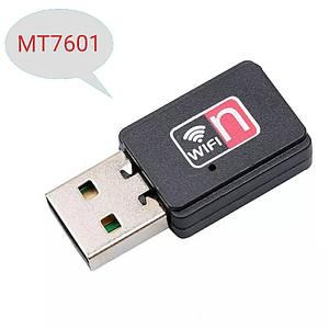 USB WiFi адаптер на чіпі MT7601 з вбудованою антеною для ПК, ноутбуків, тв тюнерів, ресиверів, Т2
