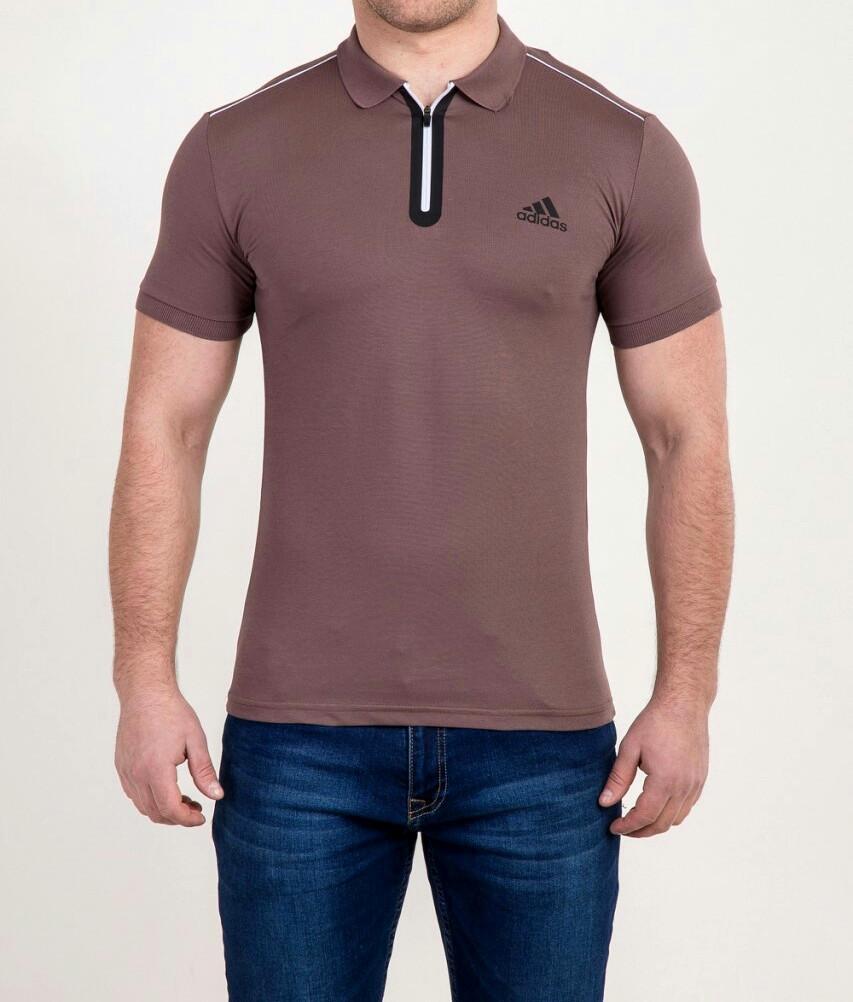 Мужская футболка ПОЛО Adidas на молнии