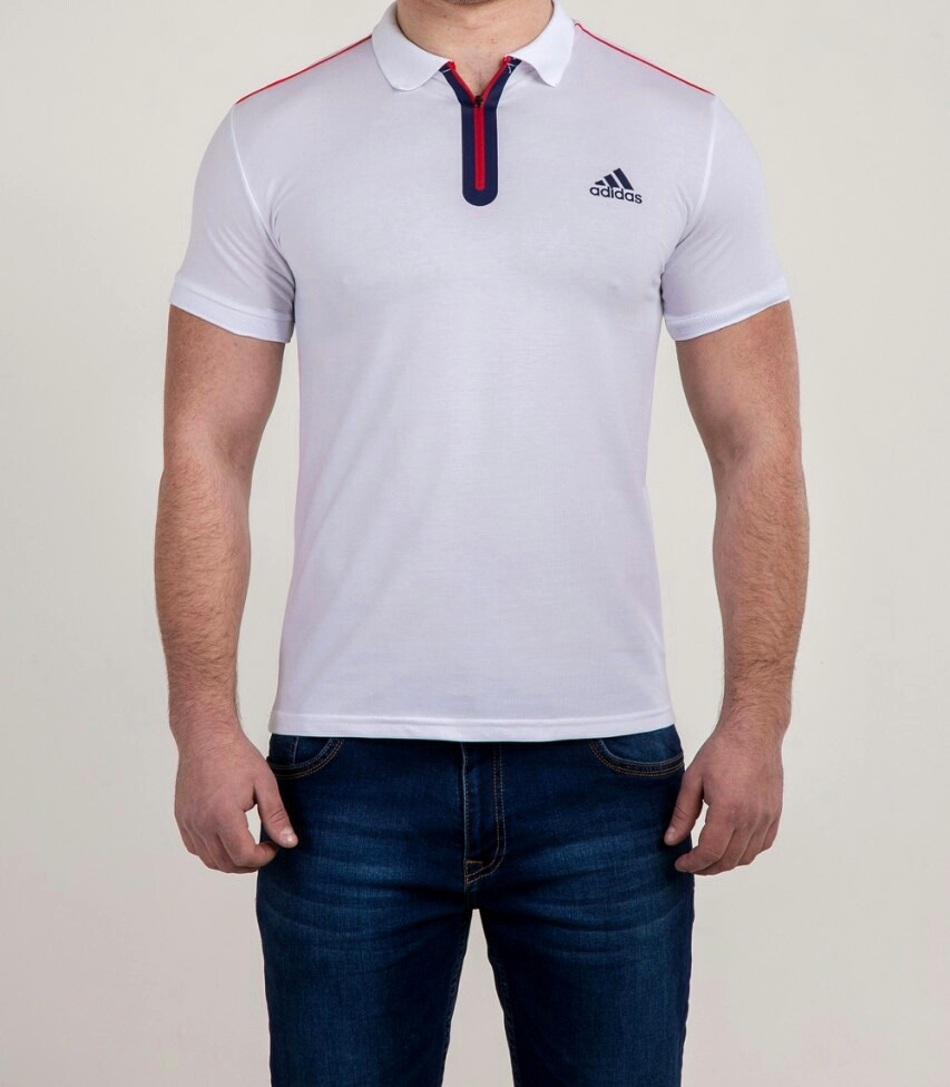 Мужская футболка ПОЛО Adidas на молнии, фото 1