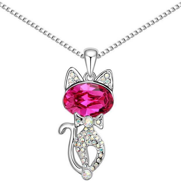 Кулон в виде животного для женщины! Необычный кулончик Кошка с розовым камнем!