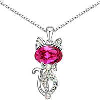 Кулон в виде животного для женщины! Необычный кулончик Кошка с розовым камнем!, фото 1