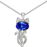 Кулон в виде животного для женщины! Необычный кулончик Кошка с синим камнем!
