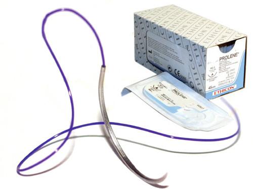 Пролен (монофиламентная нить, полипропилен), р.4/0, две колющие иглы 17мм, 1/2 окружности, длинна 90 см.синий