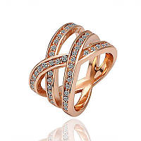 Женское кольцо с белыми кристаллами в позолоте Карелия 455745 (17.0 18.0 20.0 размеры в наличии)