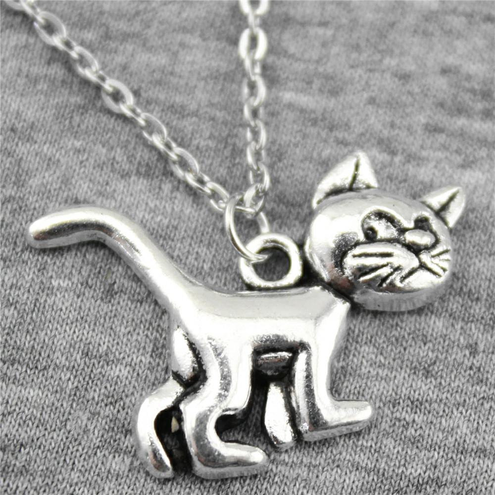 Кулон в виде животного для женщины! Необычный кулончик Кот из металла!