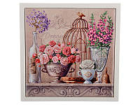 """Подставка-картина под горячее """"Цветочный рай"""" 15Х15 см, керамика + дерево  072-016"""