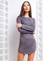 Короткое замшевое платье с длинным рукавом tez66031121