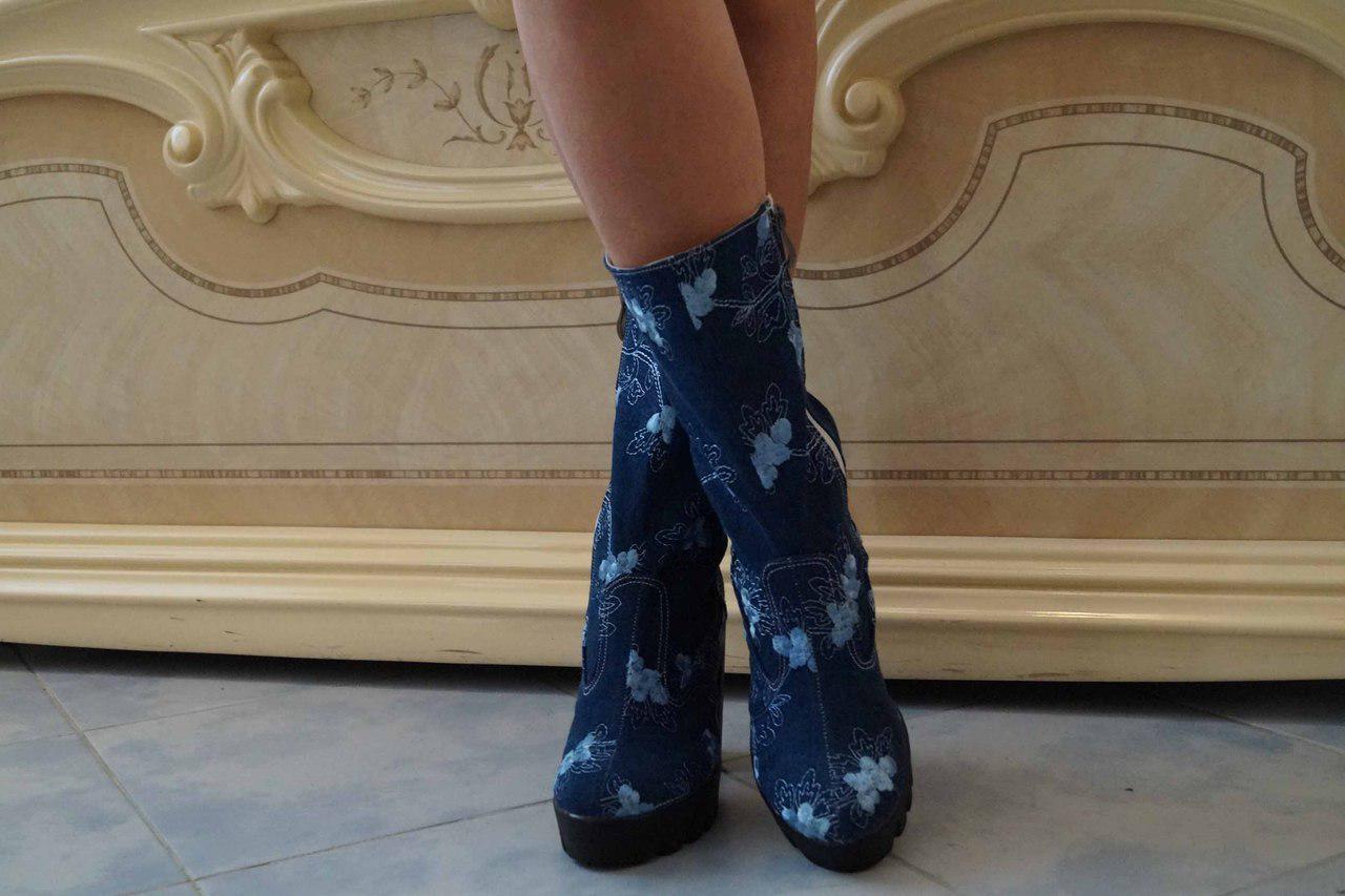 Полусапожки джинсовые на каблуке, на подкладке. Остатки размеров,  код 4011О
