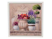 "Подставка-картина под горячее ""Цветочный прованс"" 15Х15 см, керамика + дерево 072-018"