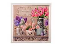 """Подставка-картина под горячее """"Весенние цветы"""" 15Х15 см, керамика + дерево  072-019"""