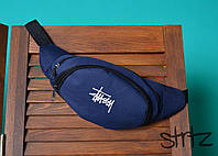 Качественная брендовая сумка на пояс от стасси Stussy синего цвета