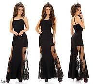 Платье вечернее длинное на бретелях костюмка+сетка 42,44,46