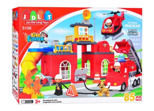 """Конструктор JDLT 5156 (аналог Lego Duplo) """"Пожарная станция"""" 85 дет"""