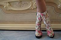 Полусапожки из тефлоновой ткани с каблуком, на подкладке. Размеры: 35-42,  код 4012О