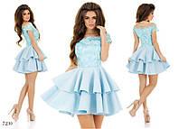 Платье вечернее короткое пышное неопрен+сетка 42,44,46