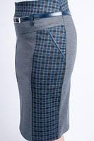 Женская деловая юбка из трикотажа, синяя клетка, фото 1