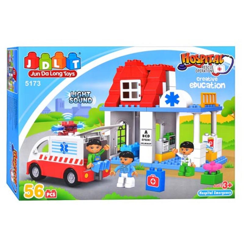 """Конструктор JDLT 5173 (аналог Lego Duplo) """"Пункт скорой помощи"""" 56 дет"""