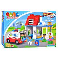 """Конструктор JDLT 5173 (аналог Lego Duplo) """"Пункт скорой помощи"""" 56 дет, фото 1"""