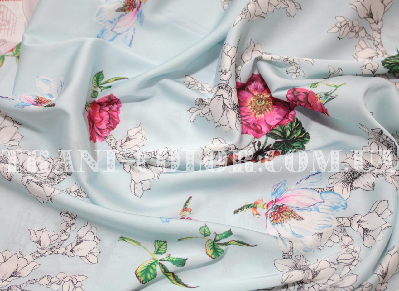 Шёлк армани принт цветы на голубом
