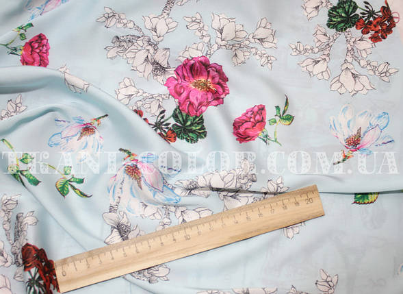 Шёлк армани принт цветы на голубом, фото 2
