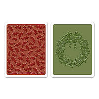 Папки для тиснения Sizzix 2PK - Holly Pattern & Wreath Set , 658269