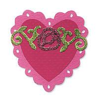 Нож для вырубки Sizzix - Heart , Scallop w / Roses , 657419