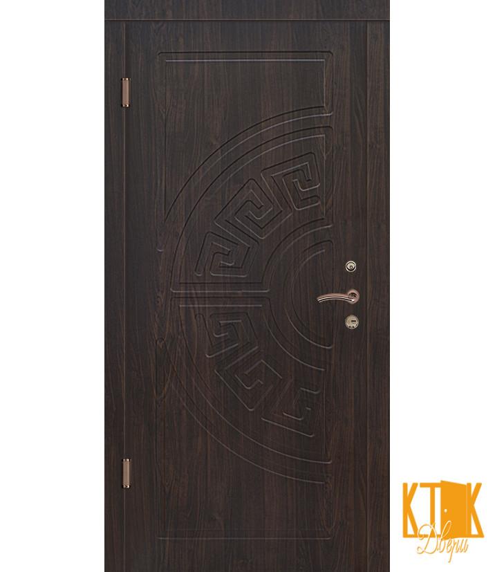 """Вулична двері серії Стандарт ПВХ """"Греція"""" (дуб темний і золотий)"""