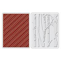 Папки для тиснения Sizzix 2PK - Birch Trees & Candy Stripes Set , 658778