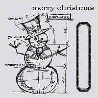 Ножи + штампы Sizzix Framelits Die Set 6PK w / Stamps - Snowman Blueprint , 659378