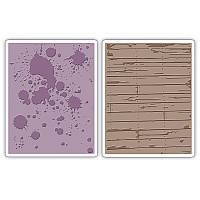 Папки для тиснения 2PK - Ink Splats & Wood Planks Set , 658726
