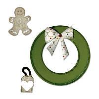 Нож для вырубки и тиснения Sizzix - Wreath & Gingerbread Man , 658186