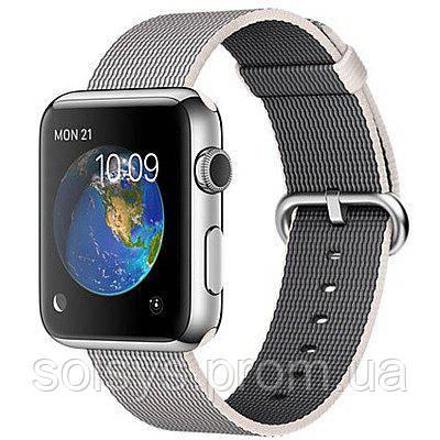 Умные Часы Apple Watch 42mm Stainless Steel Case With Pearl Woven Nylon  (MMG02) — в Категории