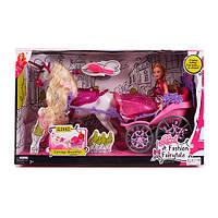 Карета 83263 с лошадью, 49см, кукла 29см, расческа, в кор-ке, 53-31-19см