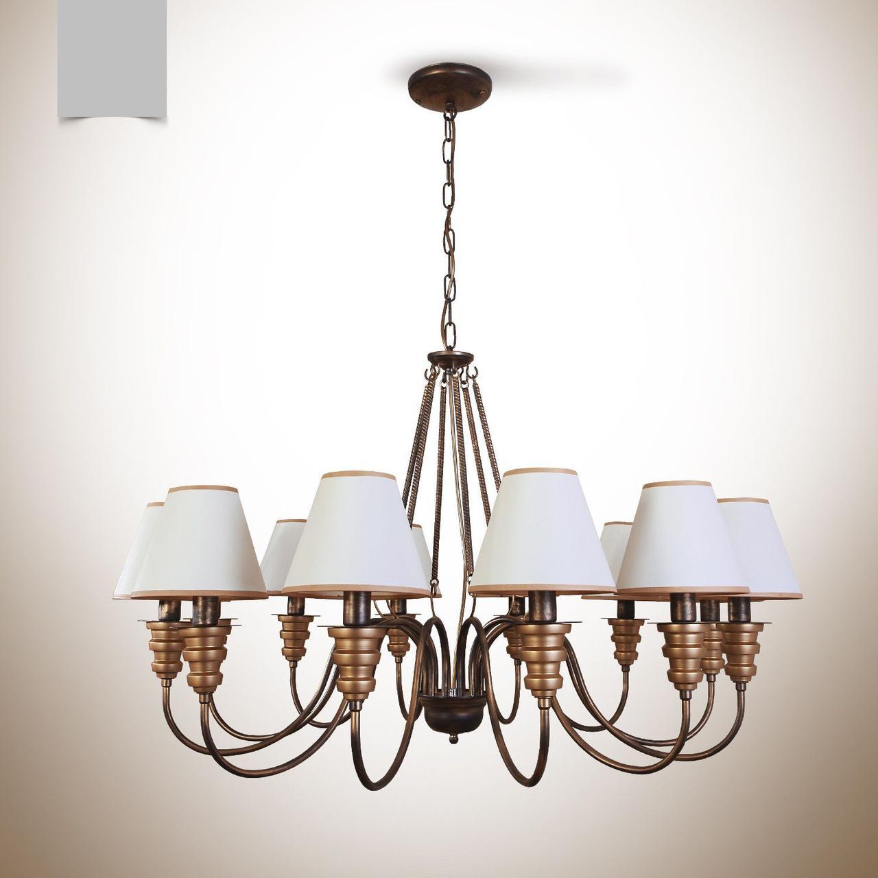 Люстра металлическая с абажурами в большую комнату с высоким потолком 12-ти ламповая  12603