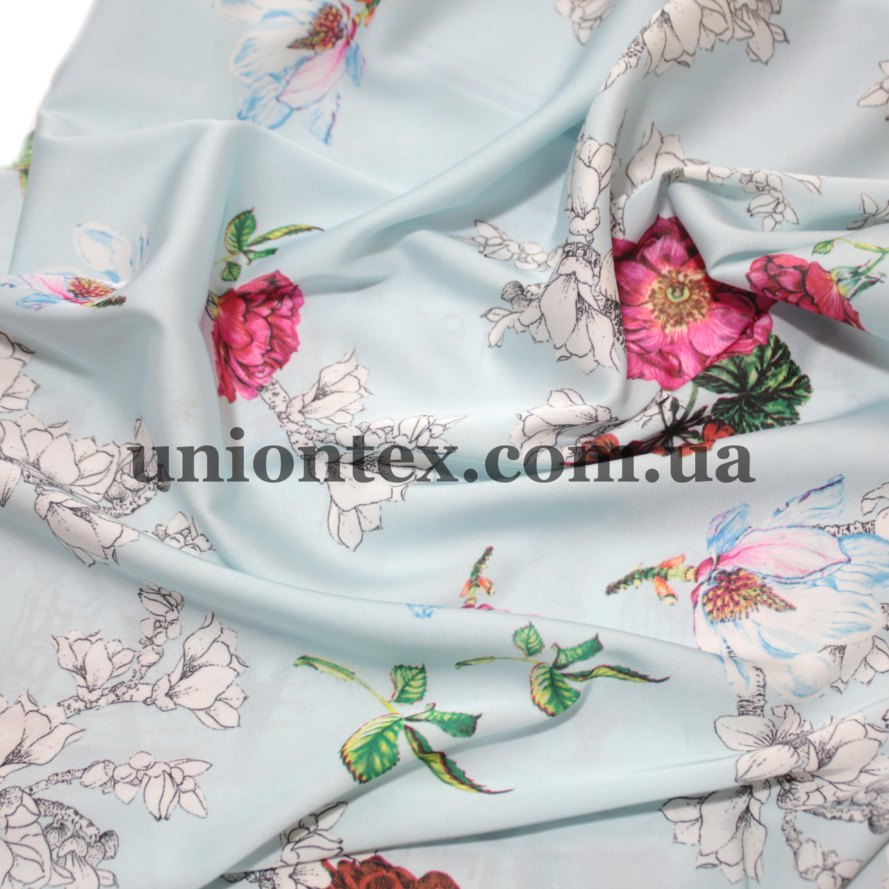 Ткань шелк-армани цветы на голубом