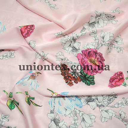 Ткань шелк-армани цветы на розовом, фото 2