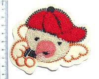 Аппликация пришивная обьемная - Мишка в кепке