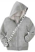 Толстовка детская на молнии, футор с начесом, серый меланж, с карманом кенгуру, размер 116