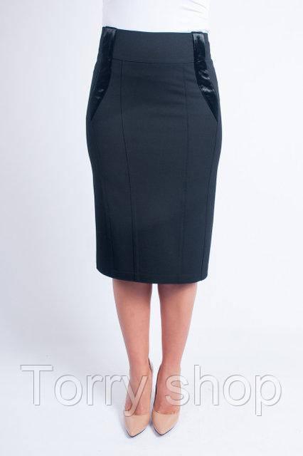 Женкая юбка ниже колен черного цвета